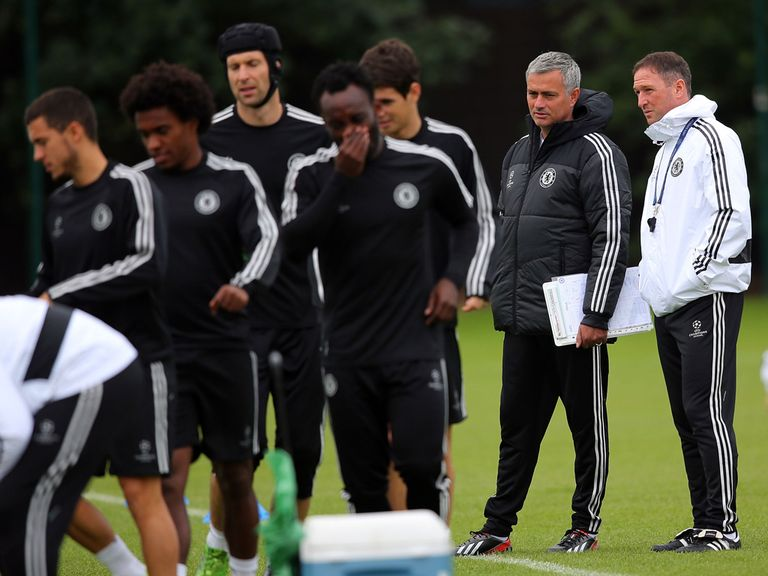 Jose Mourinho at Chelsea training on Tuesday.