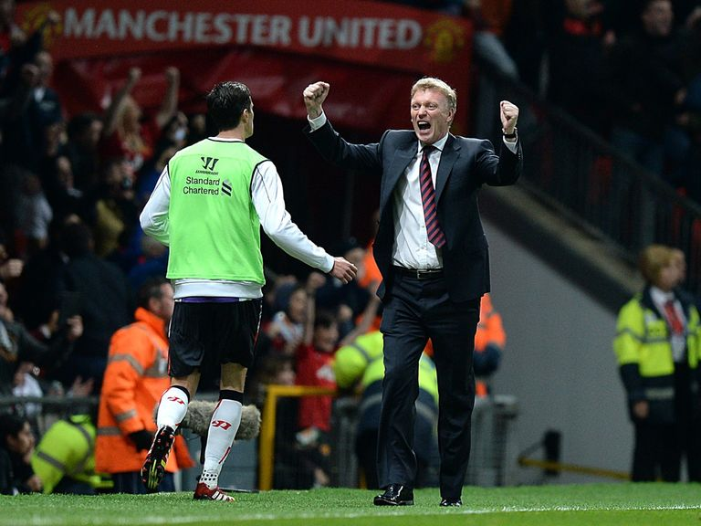 David Moyes: Celebrating victory against Liverpool at Old Trafford