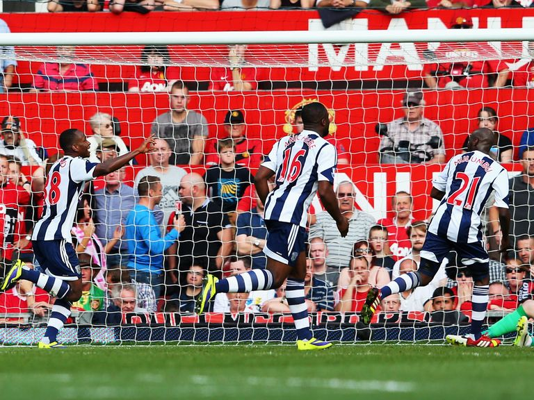 West Brom celebrate their winning goal at Old Trafford