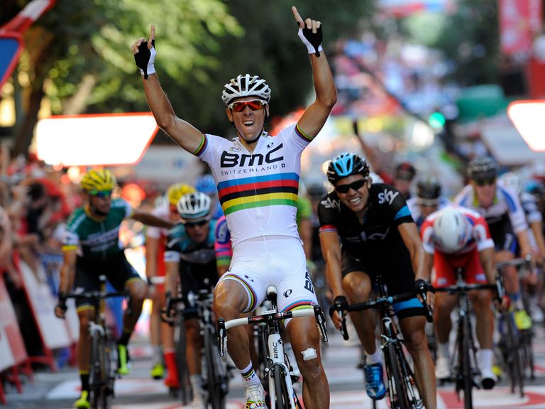 Philippe Gilbert took his first win in the rainbow jersey