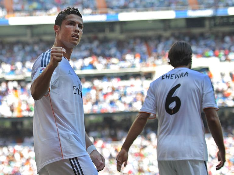 Cristiano Ronaldo celebrates his goal for Real Madrid.