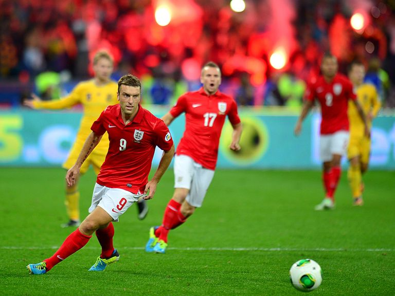 Rickie Lambert in action for England against Ukraine.
