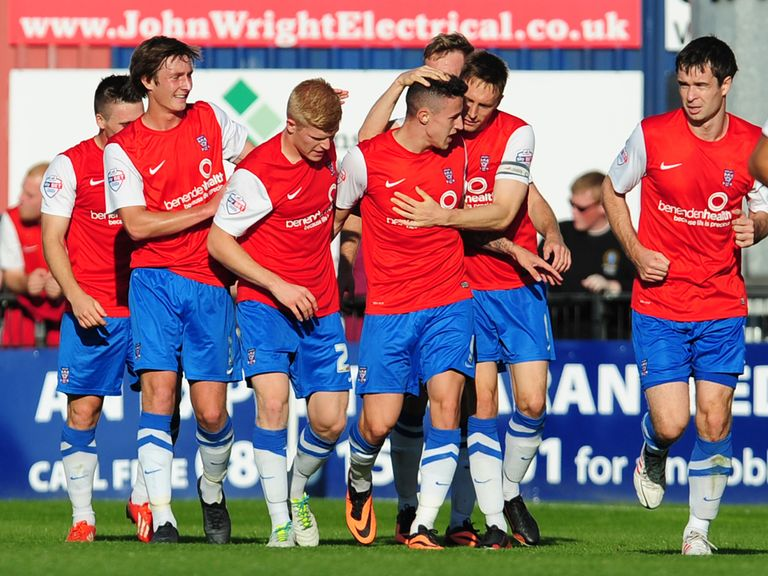 York celebrate Wes Fletcher's goal against Portsmouth