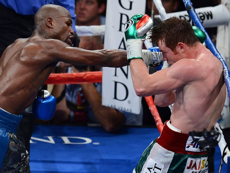 Floyd Mayweather on his way to victory over Saul Alvarez.