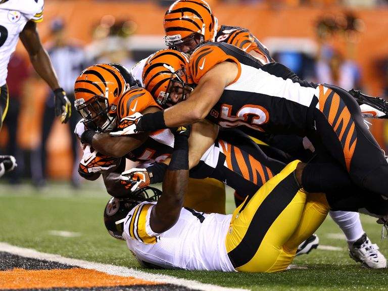 Giovani Bernard dives into the endzone for his first NFL touchdown