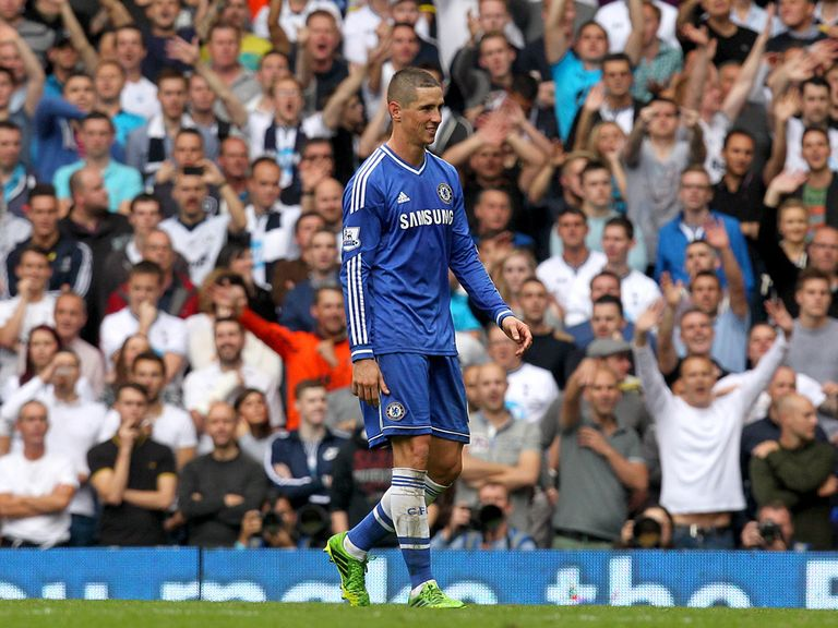Torres leaves the field after his red card at Tottenham