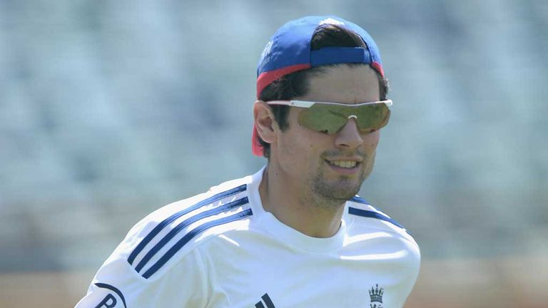 Alastair Cook sat out training alongside Stuart Broad