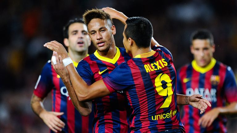 Neymar (l): Scored in Barcelona's win