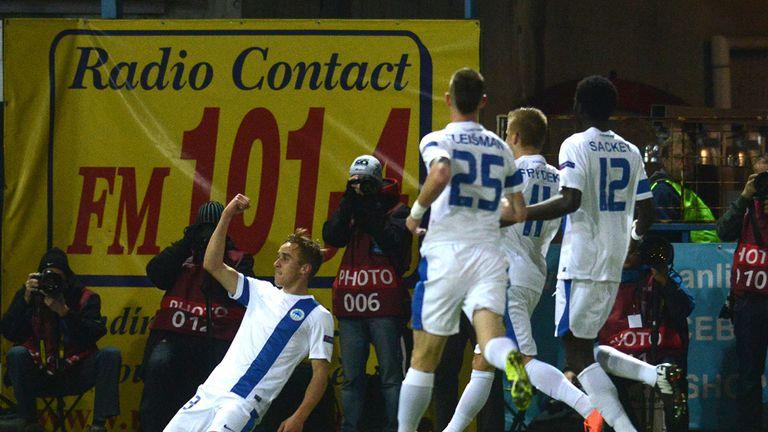 Josef Sural: Celebrates scoring opening goal for Slovan Liberec
