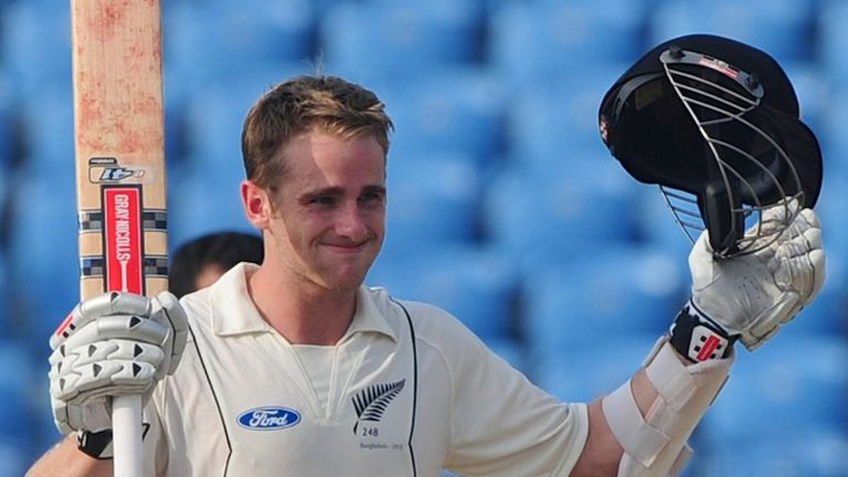 Kane Williamson: Reached his hundred off 175 balls but fell to Shakib Al Hasan late on day one
