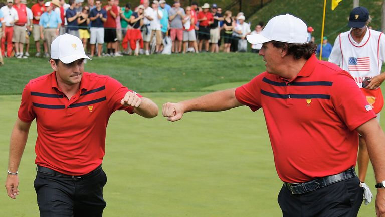 Keegan Bradley and Phil Mickelson: Fought back to all square in their unfinished foursomes