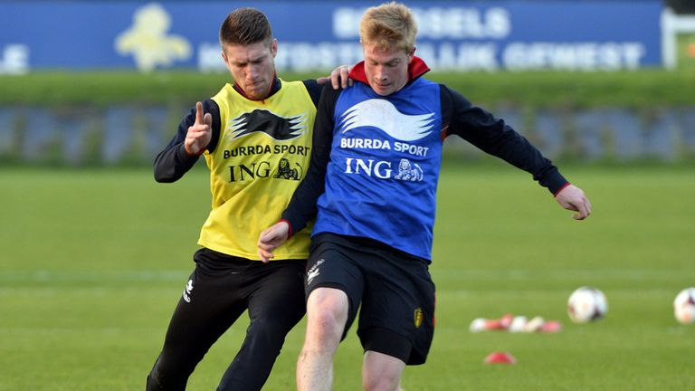 Kevin De Bruyne pictured in training with Belgium