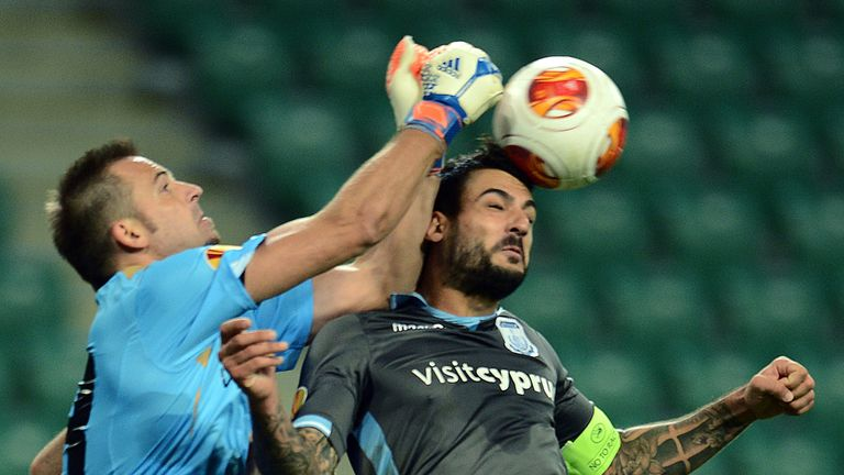 Isli Hidi: Punches the ball in Apollon Limassol's win over Legia Warsaw
