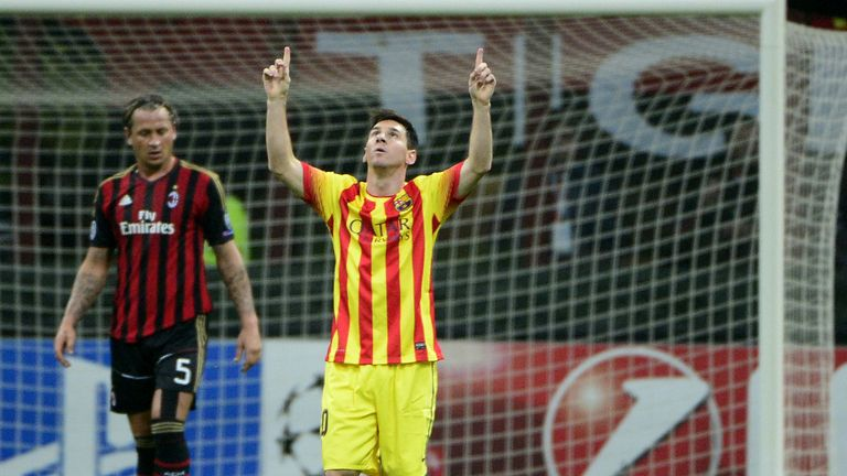Lionel Messi: Celebrates his equaliser for Barca