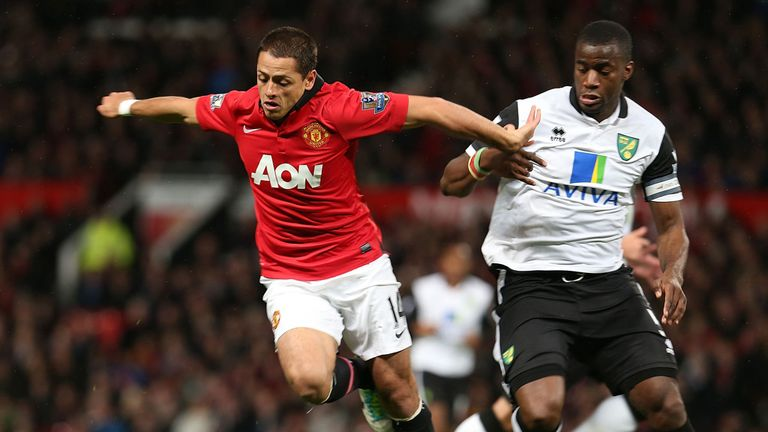 Javier Hernandez scored twice for Manchester United against Norwich