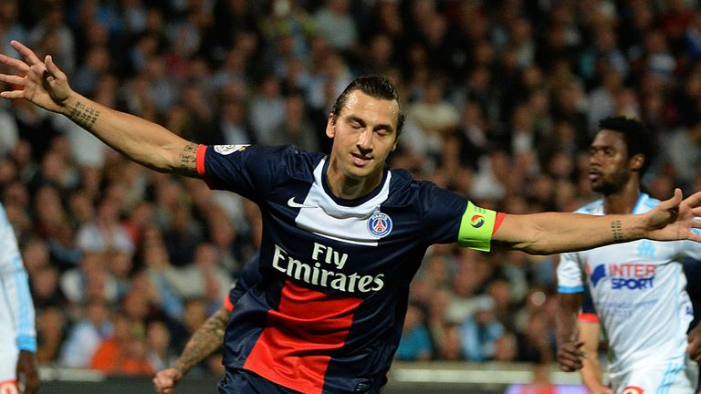 Zlatan Ibrahimovic: Celebrates his goal against Marseille