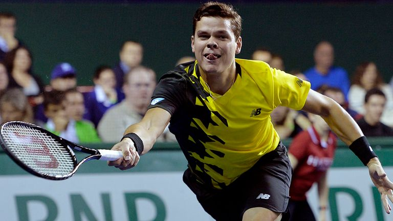Milos Raonic on his way to defeat in Paris, which ended his chances of qualifying for the ATP Tour Finals in London next week