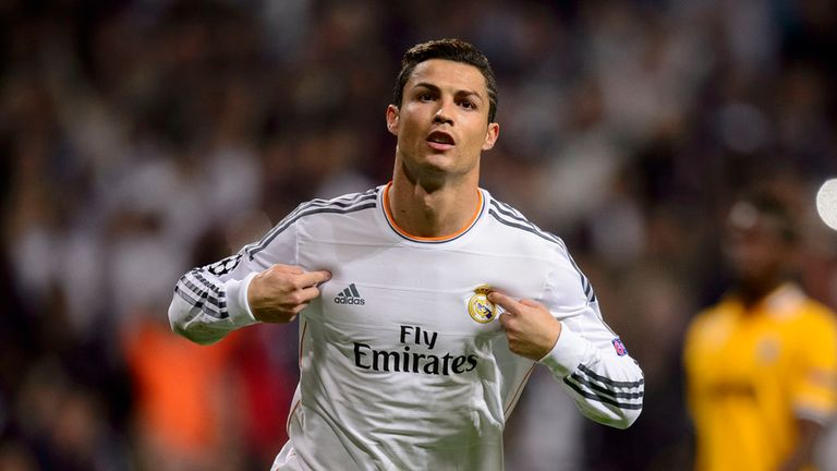 Cristiano Ronaldo: Celebrates after putting Madrid ahead against Juve