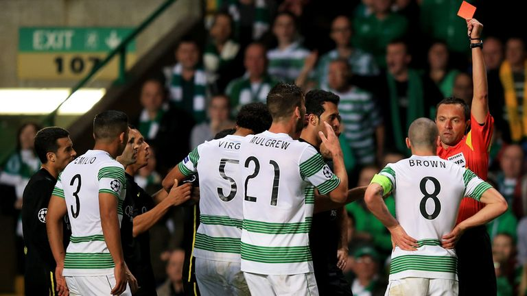 Scott Brown: Celtic captain dismissed for aiming kick at Barcelona's Neymar