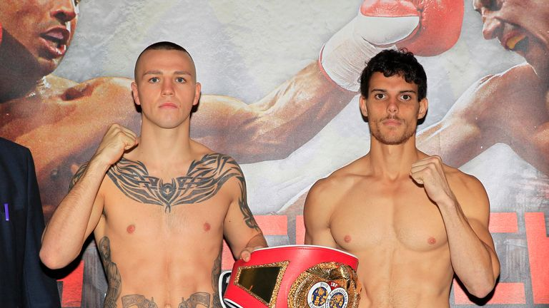Adam Etches (left) and Alexandre Mendes at the weigh-in ahead of their fight (photo courtesy of Lawrence Lustig)