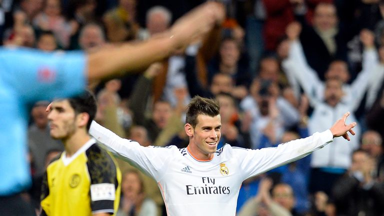Gareth Bale: Celebrates against Sevilla