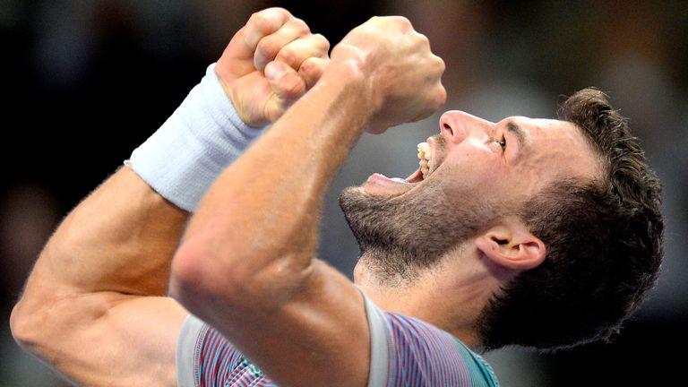 Grigor Dimitrov celebrates his maiden victory