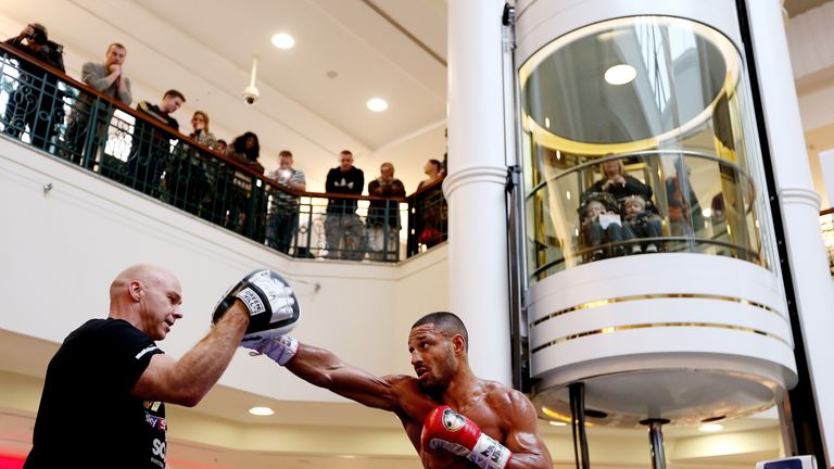Kell Brook works out with Dom Ingle in Sheffield