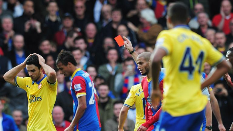 Mikel Arteta: Arsenal midfielder believes red card was wrong