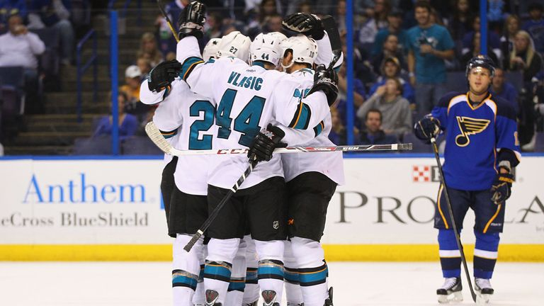 The San Jose Sharks celebrate as they move to 6-0 for the season