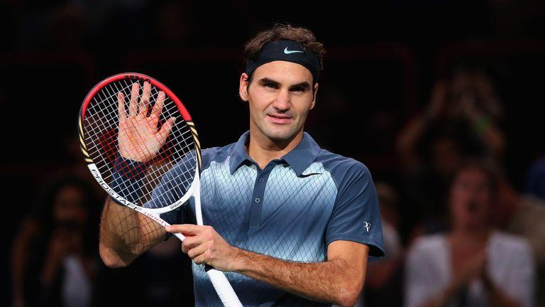 Roger Federer celebrates victory over Philipp Kohlschreiber