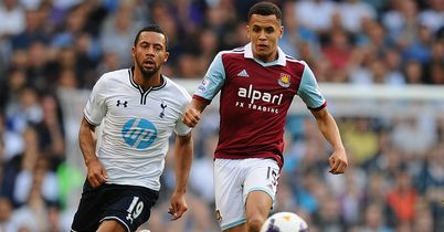Mousa Dembele (l) in action for Spurs against West Ham's Ravel Morrison