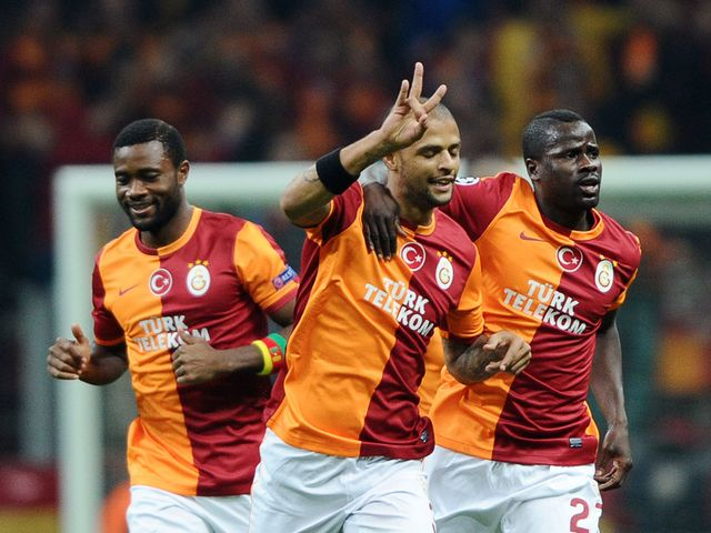 Felipe Melo celebrates scoring for Galatasaray