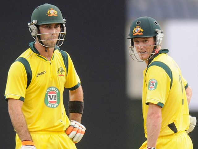 Glenn Maxwell (left) and George Bailey: Australia's fifth-wicket pair put on 153
