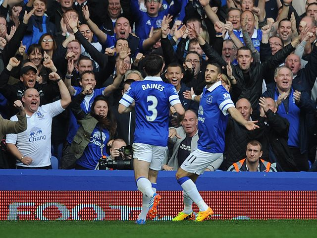 Kevin Mirallas: Everton goalscorer celebrates