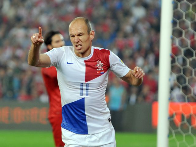 Arjen Robben celebrates his goal for the Dutch