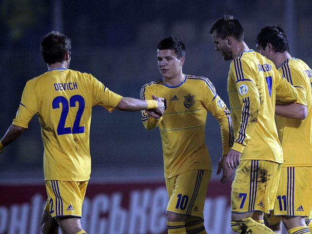 Ukraine celebrate a goal from Marko Devic