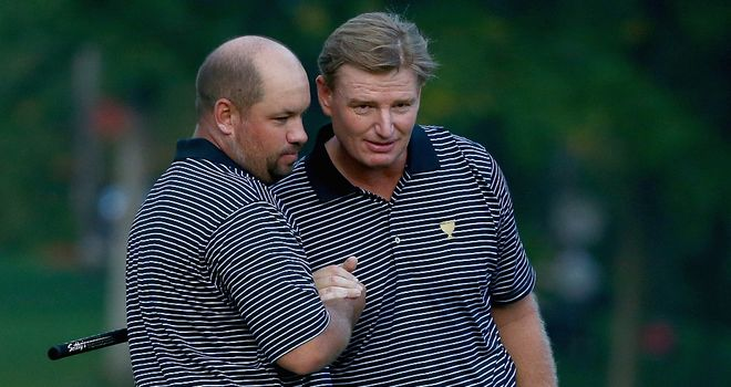 Ernie Els (r) partnered Brendon de Jonge for the opening three days of the Presidents Cup