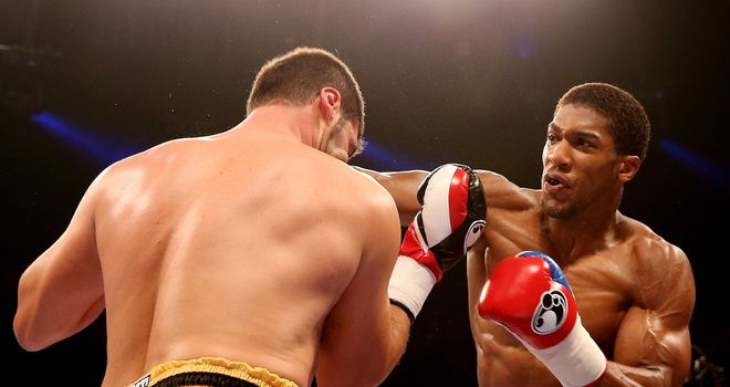 Anthony Joshua in action during his win over Emanuele Leo