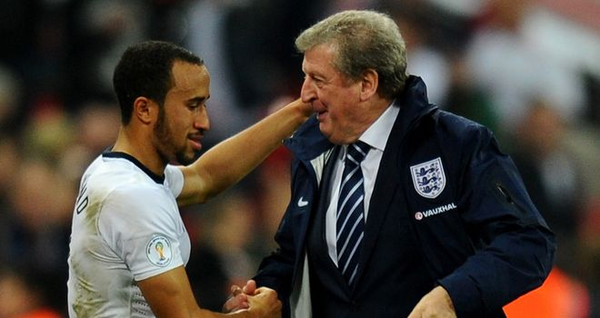 Andros Townsend and Roy Hodgson celebrating at Wembley last week