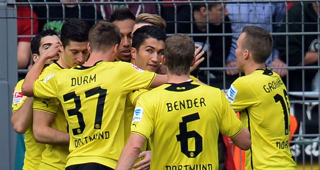 Borussia Dortmund's players celebrate together