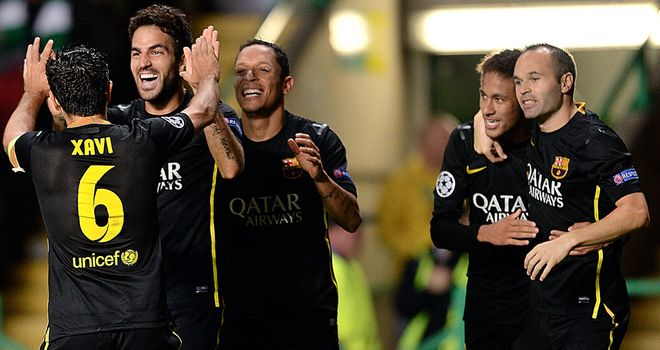 Cesc Fabregas: Celebrates Barcelona's winner