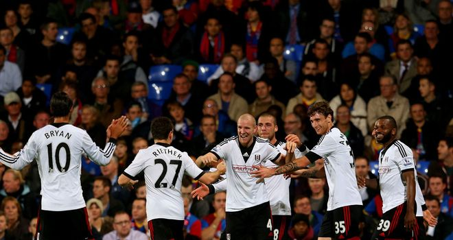 Philippe Senderos: Celebrates scoring the fourth for Fulham at Selhurst Park