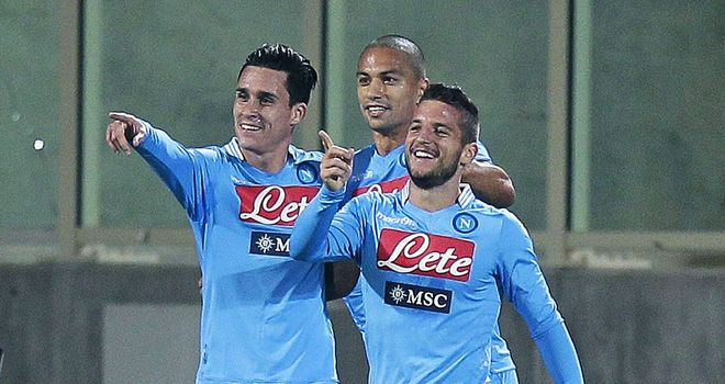 Napoli celebrate against Fiorentina