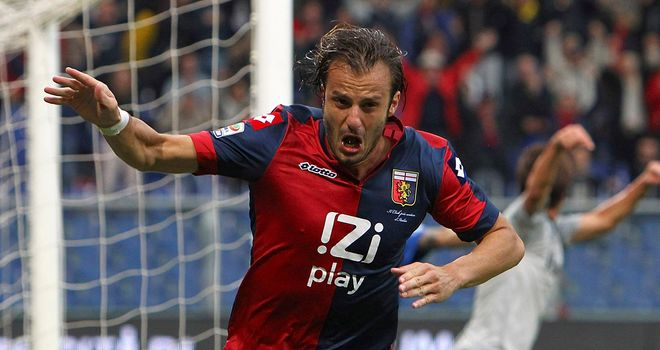 Alberto Gilardino celebrates his second goal