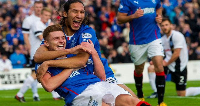 Bilel Mohsni and Lewis MacLeod: Celebrating the second goal at Somerset Park