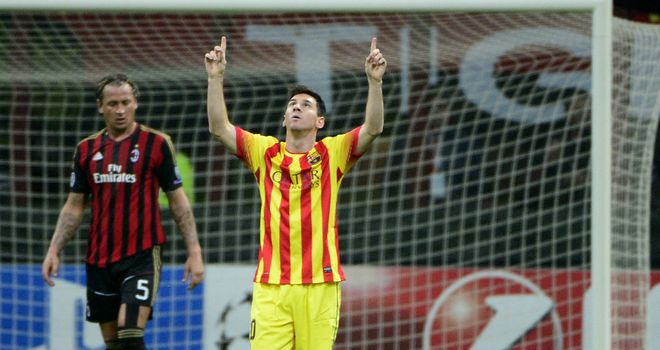 Lionel Messi: Celebrates his equaliser for Barca