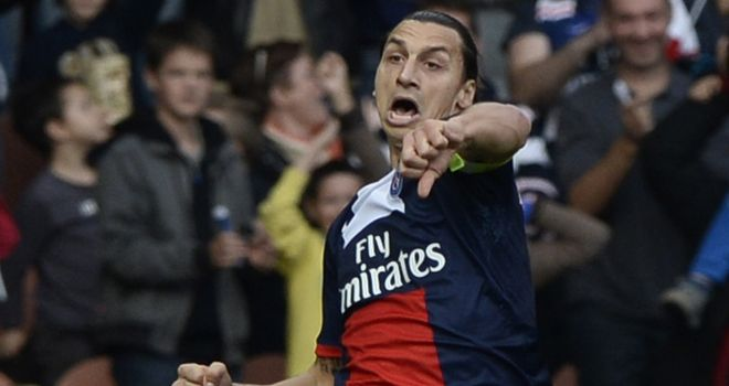 Zlatan Ibrahimovic: Celebrates one of his two goals