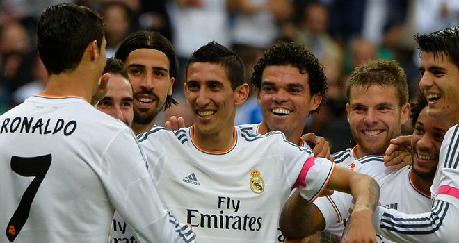 Angel Di Maria: Celebrates with Real Madrid players