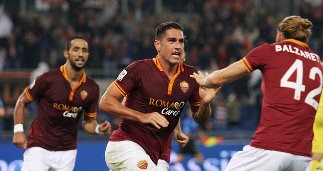Marco Borriello celebrates the only goal of the match.