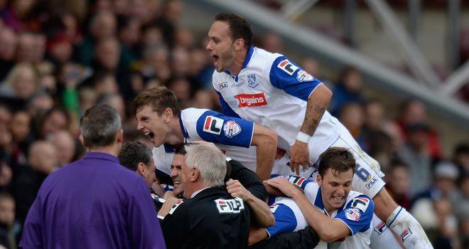 Ryan Lowe: Celebrates his goal for Tranmere